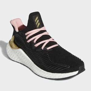 Adidas Womens AlphaBoost Shoes Black Gold Pink